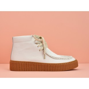 PICADILLY MID PINK - NAPPA/GOATSUEDE - DOVE/WHITE