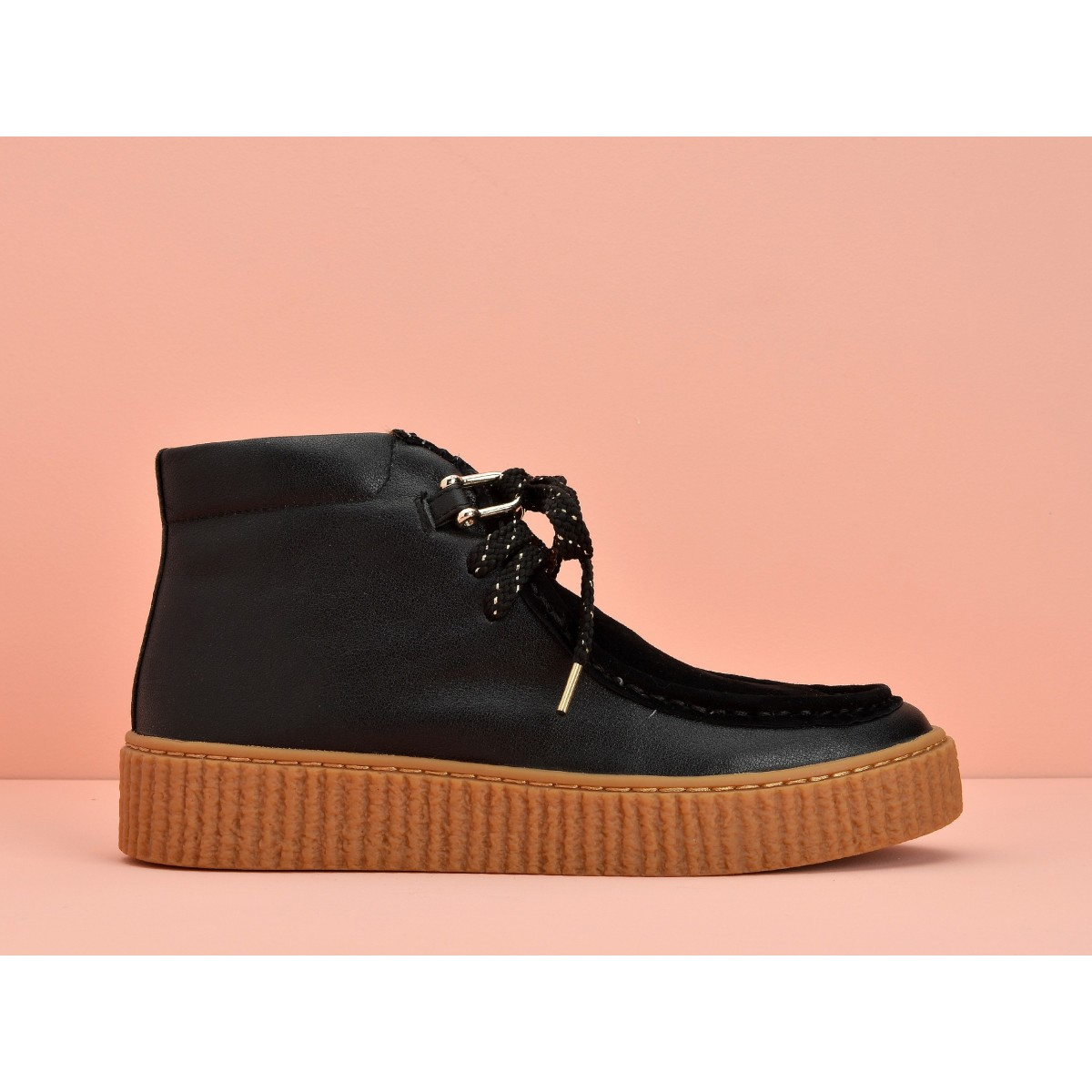No Name PICADILLY MID PINK - NAPPA/GOATSUEDE - BLACK/BLACK