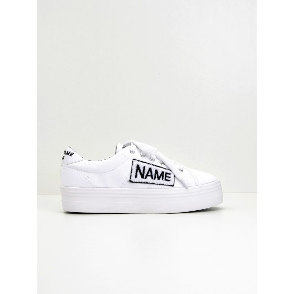 NO NAME Plato Sneaker - Twill/Patch - White